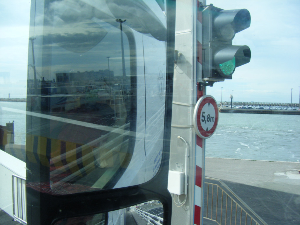 On the ferry, in the wingmirror.